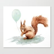 Squirrel With Balloon Canvas Print