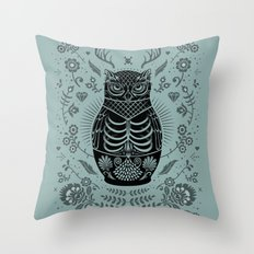 Owl Nesting Doll (Matryoshka) Throw Pillow