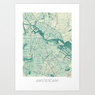 Amsterdam Map Blue Vinta… Art Print
