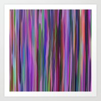 Swimming Stripes, Purple Art Print
