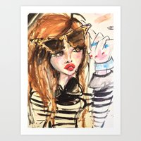 french Art Prints featuring french by BlondeLasagna By Blair Breitenstein