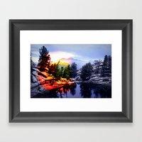 Colorado Flag/Landscape Framed Art Print