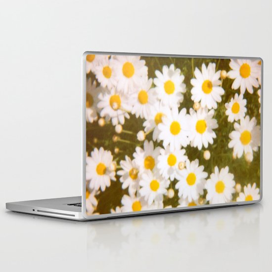 Daisies Retro Polaroid Print Laptop & iPad Skin