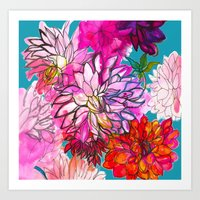 Garden of Dahlias Art Print