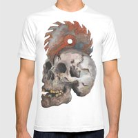 Inked Up Skull Mens Fitted Tee White SMALL