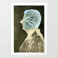 Self-portrait with a tree Art Print