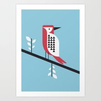 woodpecker in blue Art Print