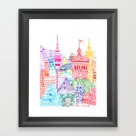 Framed Art Print featuring New Zealand Towers  by Cheism