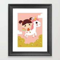 Riding a white unicorn Framed Art Print