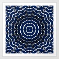 Blue stripes on white grunge textured kaleidoscope Art Print