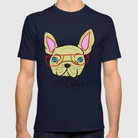 I'm Cute French Bulldog Mens Fitted Tee Navy SMALL