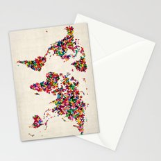 Butterflies Map of the World Map Stationery Cards