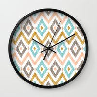 Sketchy Diamond IKAT Wall Clock