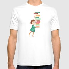 Library Girl 3 SMALL Mens Fitted Tee White