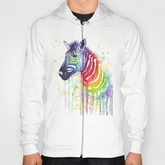 Zebra Watercolor Rainbow Painting | Ode to Fruit Stripes Hoody