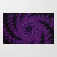 Purple Spiral Fractal Design Rug