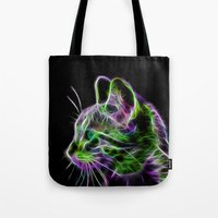 Cat | Fractal Wire Flame Cat Wall art Tote Bag