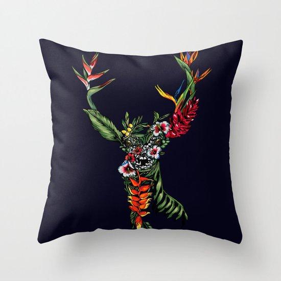 Tropical Deer Throw Pillow