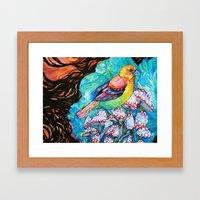 Birds And Mushrooms Framed Art Print