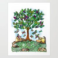 Flutterby Tree Art Print