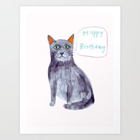 Happy Birthday cat Art Print