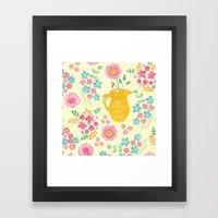 Watercolor floral with vase Framed Art Print