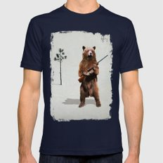 Bear with a shotgun Mens Fitted Tee Navy SMALL