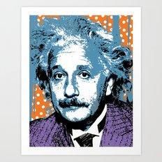 Blue Einstein Art Print