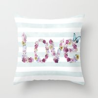 SPRING FLORAL LOVE Throw Pillow
