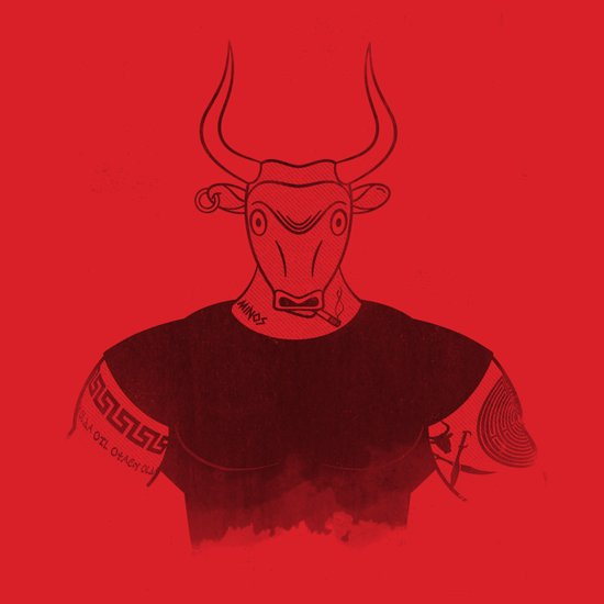 Angry Young Minotaur - RED Art Print