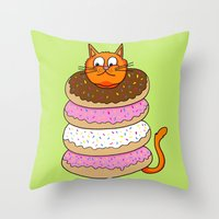 More Cats & Donuts Throw Pillow