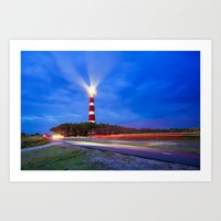 Lighthouse trails Art Print