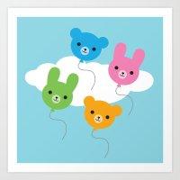 Kawaii Animal Balloons Art Print