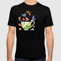 Butterfly Tea Mens Fitted Tee Black SMALL