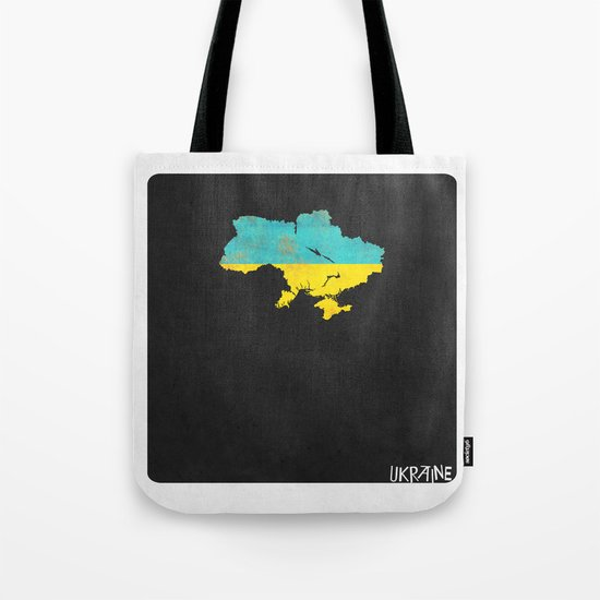 Ukraine Minimalist Vintage Map with Flag Tote Bag