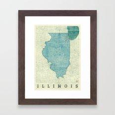 Illinois State Map Blue Vintage Framed Art Print