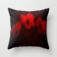 Poppies aglow Throw Pillow