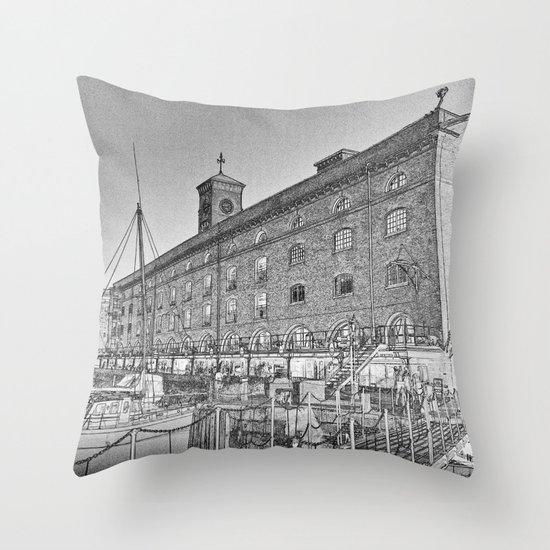 St Katherine's Dock London sketch Throw Pillow