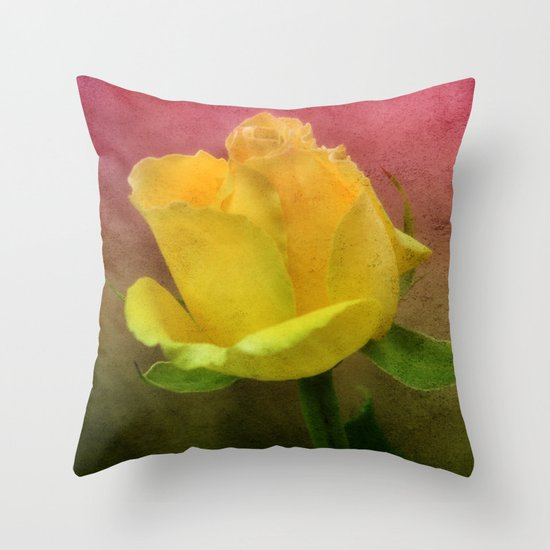 Pink, Green and Yellow Throw Pillow