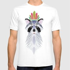 raccoon spirit Mens Fitted Tee White SMALL