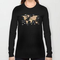 World Map Oceans Life blue Long Sleeve T-shirt