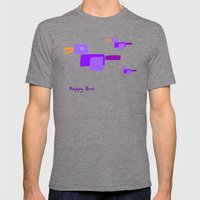 Happy Bird-Purple Mens Fitted Tee Tri-Grey SMALL