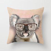 Funny koala with glasses Throw Pillow