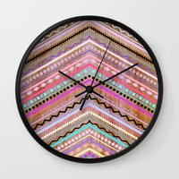 Purple Chevron Wild Wall Clock