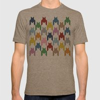 M Dog Tooth Mens Fitted Tee Tri-Coffee SMALL