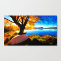 Peaceful Lake - Painting Style Canvas Print