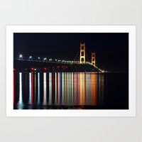 Mackinac Bridge At Night Art Print