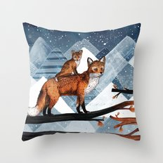 Fox Wood Throw Pillow