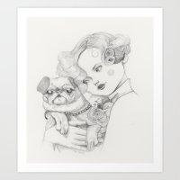 Vintage pug Art Print