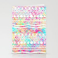 Aztec Splash | White Tribal Abstract Aztec Neon Rainbow Splatters Stationery Cards